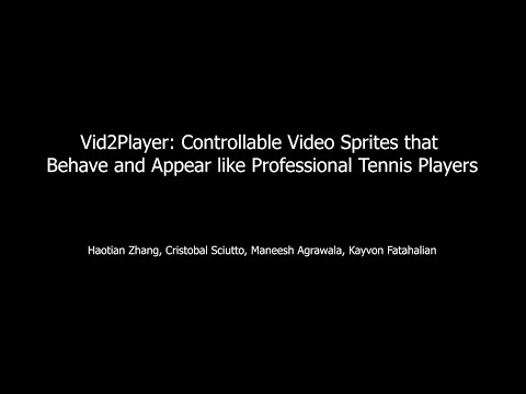 Vid2Player: Controllable Video Sprites that Behave and Appear like Professional Tennis Players
